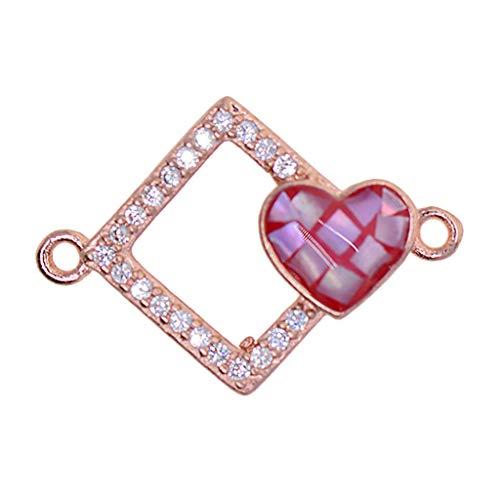 Colgante de Encanto de Conectores de Corazón de Amor Cuadrado de Colores Surtidos Apto para Pulsera de Bricolaje - Oro rosa + rojo