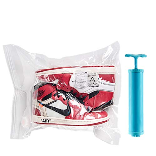 Professional Sneaker Vacuum Storage Bag,Anti-oxidation Keep Shoes Perfect You Need,also High heels, leather, Suede(6 Pack + 1 Hand Pump)