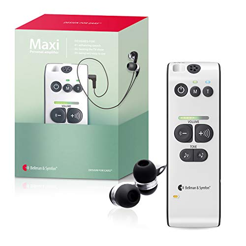 Bellman & Symfon Maxi Personal Sound Amplifier with Earbuds for Difficult Hearing Situations - Wireless Sound Amplification Device - Digital Audio, Clarifies Sound - Easy to Use, for Seniors