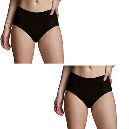 Absorbent/Overnight High Waist Panty: Period Panties/Maternity & Postpartum Underwear (3X-LARGE, 2 PACK (BLACK))