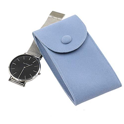 WMC Uhr-Aufbewahrungsbehälter, Qualitäts-Uhr-Schutz Soft Bag Flannelette Uhr Collect Boxen Fall Für Weihnachten Jahrestag Geburtstag,Blau