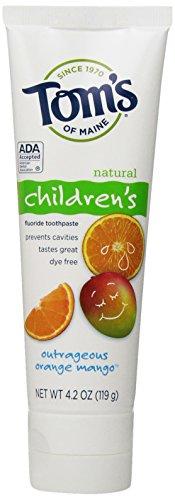 Tom's of Maine, Natural Children's Fluoride Toothpaste, Natural Toothpaste, Kids Toothpaste, Outrageous Orange Mango, 4.2 Ounce, 1-Pack