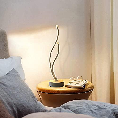 AUA Lámpara de escritorio LED, 49cm lámpara de mesa curva moderna 20W, lámpara de noche de...