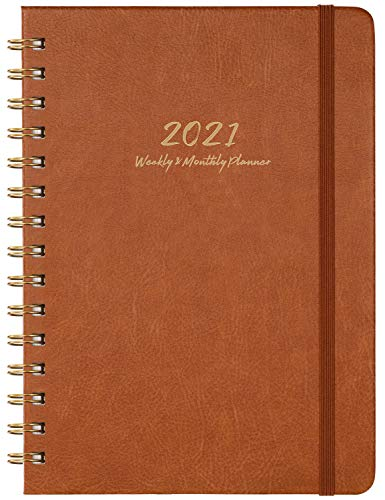 2021 Planner - Weekly, Monthly and Yearly Planner with Monthly Tabs, 6.3' x 8.4', January 2021 - December 2021, Thick Paper, Brown
