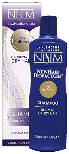 Nisim Shampoo gegen Haarausfall, 1 Stück x 240 ml, Mittel für Haarwachstum, Trockenes Haar, Keine Sulfate, Männer und Frauen