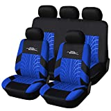 AUTOYOUTH Car Seat Covers Universal Fit Full Set Car Seat Protectors Tire Tracks Car Seat Accessories - 9PCS, Black/Blue