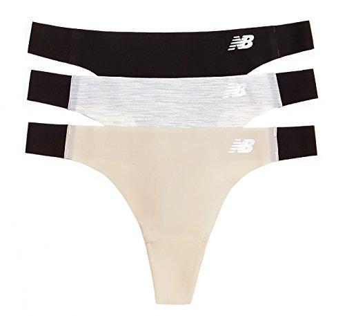 New Balance Women's Laser Thong Panties (3 Pack), Black/Concrete Grey Space Dye/Nude, Large