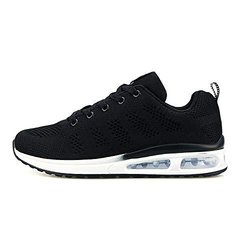 Hoylson Zapatillas de Deportivos para Mujer Running Zapatos Asfalto Ligeras Calzado Aire Libre Sneakers(Negro, EU 38)