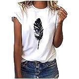 Frauen T-Shirt Mode Federdruck Tops O-Ausschnitt Kurzarm Pullover Casual Solid Color T-Shirt Bluse (XXXL,Weiß)