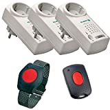 ELDAT Senioren Sicherheitspaket 8: Hausnotruf mit wasserdichtem Notrufarmband, 3 Funk Empfängern und Quittierungssender für häusliche Pflege; Notrufsystem mit SOS Notruf Armband; Pflegeruf Set