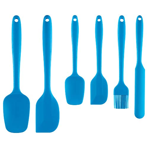 Silicone Spatula Heat Resistant Premium Silicone Spatula Set One-Piece Seamless Spoon Non-Stick Flexible Rubber Utensil for Kitchen Cooking and Baking 6 packs (Light blue)