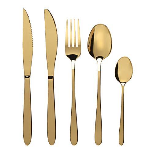 PROGRESS BW09648EU-Set di Posate Gold Refine in Oro Acciaio Inossidabile   Include coltelli da Bistecca, 4 forchette, 4 cucchiai, 4 cucchiaini, 20 Pezzi