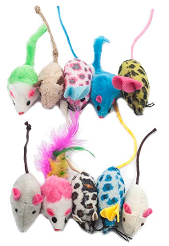 Fashion's Talk Furry Mouse Cat Toys Assorted Catnip Rattle Kitten Toys Feather Fur Mice for Cats 10 Pack