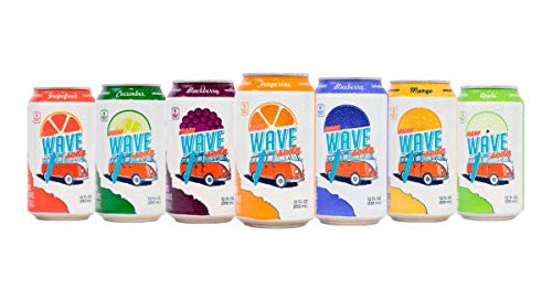 New Wave Soda Natural Soda Canned Fruit Juice, 7 Flavor Variety, Healthy Soda Caffeinated Sparkling Water | Vegan, Keto, Gluten Free Soft Drink, No Added Sugar or Artificial Flavors, 24 Pack