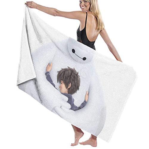 XCNGG Toallas de baño Blancas Baymax Toalla Absorbente de baño Grande y Suave, Las Mujeres y los Hombres se aplican a Las toallitas de Viaje para Deportes de Playa