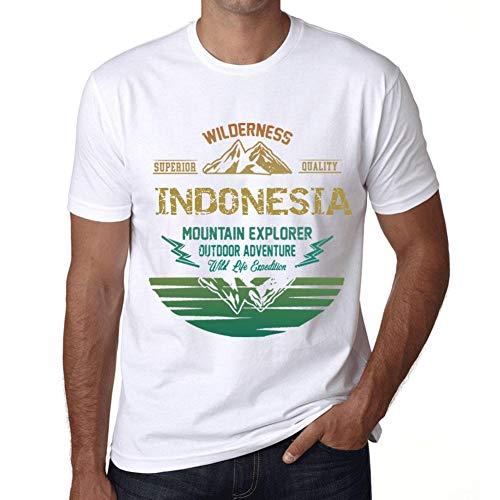 Hombre Camiseta Vintage T-Shirt Gráfico Indonesia Mountain Explorer Blanco