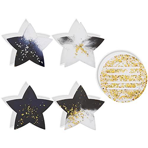 GLAITC Stampo Sottobicchiere,5 Pezzi Sottobicchiere in Silicone Stampi Coaster Stampi in Resina Stampo in Silicone Agata DIY Stampi per Resina Sottobicchieri per Fai-da-Te Decorazione Domestica