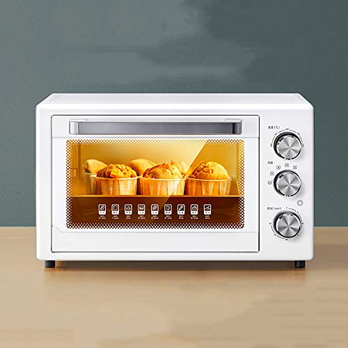 QJJML 32L White Tabletop Oven, Home Baking Multifunctional Smart Bread Cake Pizza Oven, Explosion-Proof Glass Door, 60 Minutes Timer, 100-230 ?,Drawer Slag Tray,For Outdoor Travel