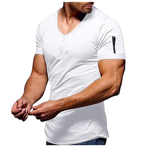 Honestyi Herren Sommer T-Shirt V-Ausschnitt Slim Fit Baumwolle-Anteil Moderner Männer T-Shirt V-Neck Hoodie-Sweatshirt Kurzarm lang