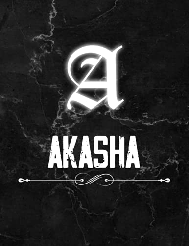 Akasha: Perfect Personalized Lined Notebook & Journal birthday gift idea with name for Akasha with Monogram Initial Capital Letter Akasha and Handmade ... Marble and White Light Neon Design (8.5x11)