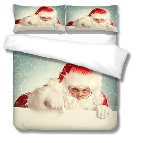 Generic Branded Duvet cover-Santa Claus 100% superfine fiber Softness Comfort Easy to maintain Bedding for ALL-SEASON - Single bed: 1 piece quilt cover 55x79 inch, 20x30 inch pillowcases x 2 -