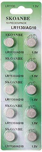 SKOANBE SG10 10pcs AG10 Coin Battery 1.5V Button Cell LR1130