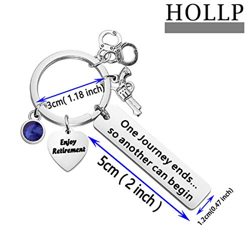 Product Image 2: HOLLP Police Retirement Gifts Police Officer Retired Keychain One Journey End.So Another Can Begin Keychain Police Jewelry Gift for Police Officer (Keychain)