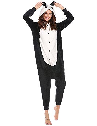 ADOME Damen Schlafanzüge Pyjama 3D Cosplay Kaninchen Lange Flanell Sleepwear mit Kapuze Strampelanzüge, Schwarz365, EU 40(Herstellergröße: L)