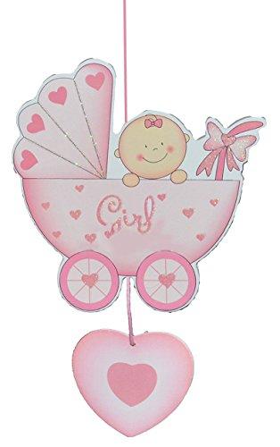 alles-meine.de GmbH Türschild / Wandbild / Deko Hänger - Baby im Kinderwagen rosa - Holz - selbstklebend - Kinderzimmer Deko Bilder Mädchen zur Geburt Babys Neugeboren