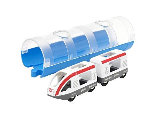 Brio World- Train DE Voyageurs ET Tunnel, 33890, Bleu, Blanc E Rouge