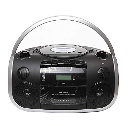 HARMON Control Remoto Boombox Reproductor De CD, GRABADORA De Cinta De Casete, Radio FM, AUX IN (Reproducir Música De Reproductores MP3, Teléfonos Inteligentes, Tabletas, Etc.),Negro