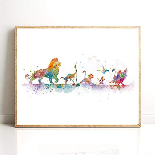 Danjiao König Der Löwen Poster Leinwanddruck Aquarell Klassische Cartoon Simba Kunst Malerei Geschenk Kindergarten Wandkunst Bild Kinderzimmer Wohnkultur Wohnzimmer 40x60cm