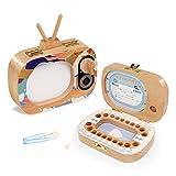 EEGR Caja de Dientes de bebé Organizador de Madera Guardar Almacenamiento de Memoria Cajas de Almacenamiento de Dientes de Leche para niños niñas