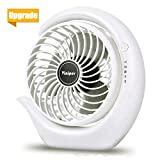 viniper Battery Operated Fan, Rechargeable Fan : 180° Rotation and 3 Speeds Strong Wind Portable USB Quiet Fan, Optimised Battery & Longer Working Hours, Strong Cooling (6.2 inch, White)