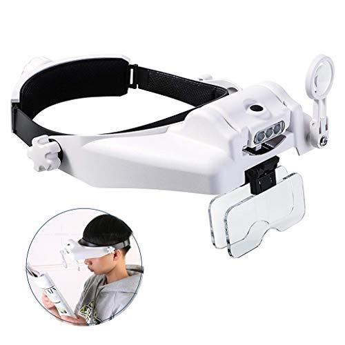 Handsfree Reading Head Mounted vergrootglas Visor Headset Helm Vergrootglas Loupe Verlichte Hoofd vergrootglas met afneembare LEDsfor Close Work, naaien, knutselen, lezen, reparatie, Sieraden maken