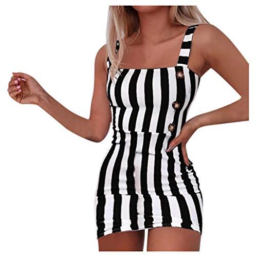 Janly Clearance Sale Vestido de mujer a rayas, para mujer, estilo vintage, vertical, a rayas, mini sexy, con botones, para primavera y verano, para verano (negro/S)