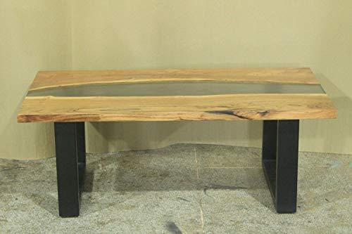 Faunos Design Couchtisch PALIA 115x55x60 cm Akazienholz Metall Epoxidharz Klar Industrial Wohnzimmertisch