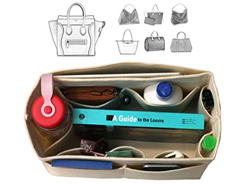 [Fits Ce.line Bags] Felt Tote Organizer (w/Milk Water Bottle Holder), Bag in Bag, Wool Purse Insert, Customized Tote Organize, Cosmetic Makeup Diaper Handbag