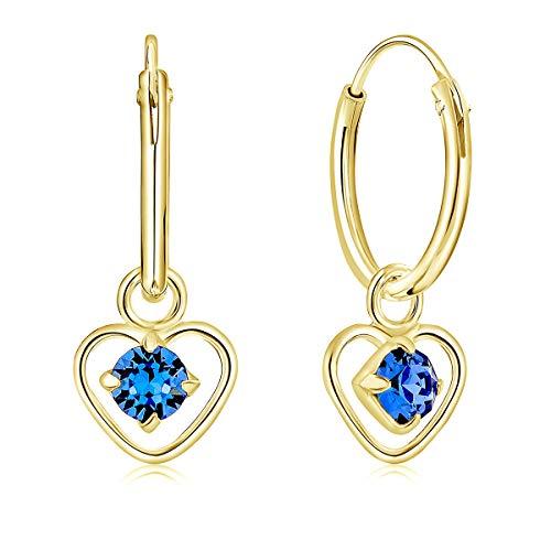DTPsilver Pendientes de Aro Pequeños con colgante de Corazón y 3 mm Cristal Swarovski Elements - Plata de Ley 925 Chapado en Oro Amarillo - Espesor 1.2 mm - Diámetro 12 mm - Color: Zafiro Azul