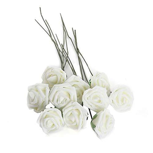 Hemore 10 weiße Milchschaum-Rosen künstliche Blumenstrauß Hochzeit Zuhause Dekoration