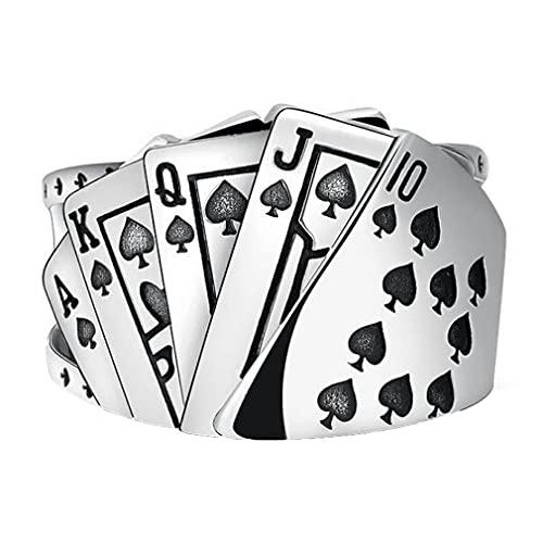 Anillo de regalo para tarjeta de juego recta, para hombre y mujer, con personalidad dominante