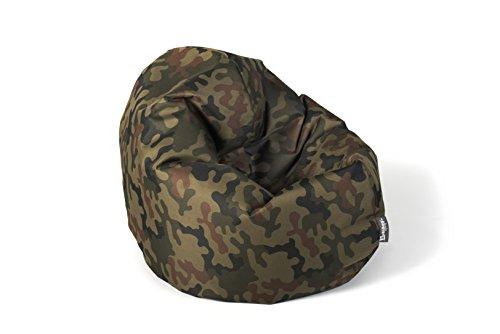 BuBiBag Sitzsack 2-in-1 100cm Durchmesser Funktionen mit Füllung Sitzkissen Bodenkissen Kissen Sessel BeanBag Joga 30 Farben (Camouflage)