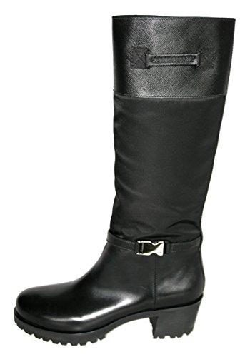 Prada Damen Schwarz Saffiano Leder Stiefel 3W4952 41 EU