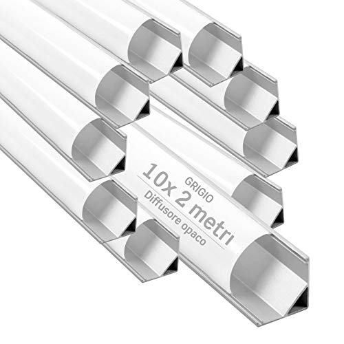 10x Profili Angolari da 2 metri (20mt) in Alluminio grigio per Strisce LED Schermatura Opaca ingombro max striscia led 10.5mm - 21.3 x 15.8
