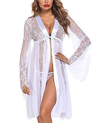 Avidlove Women's Lace Kimono Robe Long Babydoll Lingerie Floral Lace Mesh Nightgown White L