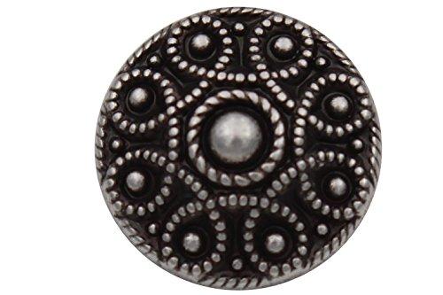 Silber dunkel elegant Metallknöpfe, Trachtenknöpfe, Metall Knöpfe leicht spitz zulaufend, 14mm, Made in Germany (6 Stück)