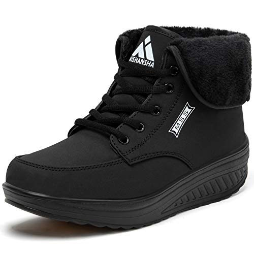 SAGUARO Mujer Botas de Nieve Comodos Botas Frías Invierno Impermeables Zapatos con Plataforma Botines con Cordones Antideslizante, Negro 38