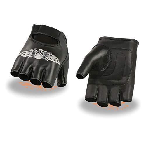 Milwaukee Leather SH353 Men's 'Skull and Bones' Black Leather Fingerless Gloves - Large