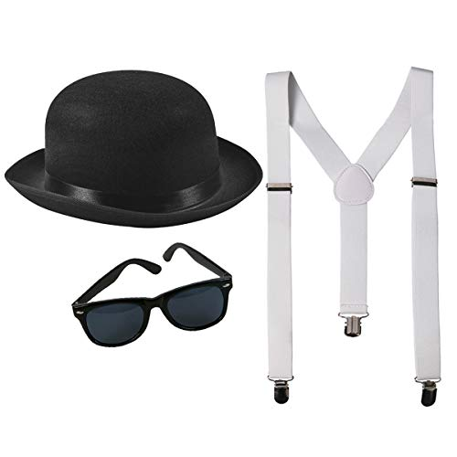 Black Derby Costume with Suspenders and Retro Sunglasses-Gangster Costume Accessories-Roaring 20s Accessories Men by Funny Party Hats