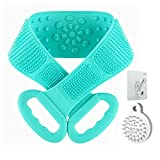 Silicone Back Scrubber for Shower,31.5 inches Silicone Bath Body Brush with Exfoliating &Massage Function,Japanese style Hair Shampoo Brush for Hair Scalp Massage (Green)
